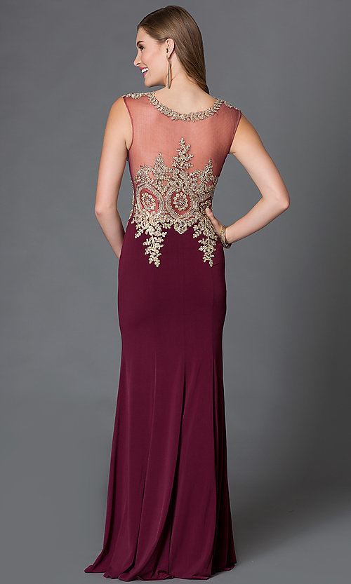 Image of sleeveless long dress with jeweled lace applique and sheer bodice Style: DQ-9173 Back Image