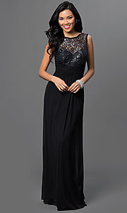 Image of lace-bodice long prom dress with ruched waist. Style: TW-4218 Detail Image 2