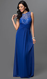 Image of lace-bodice long prom dress with ruched waist. Style: TW-4218 Detail Image 1