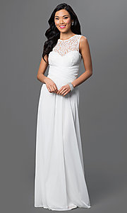 Image of lace-bodice long prom dress with ruched waist. Style: TW-4218 Front Image