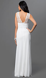 Image of lace-bodice long prom dress with ruched waist. Style: TW-4218 Back Image