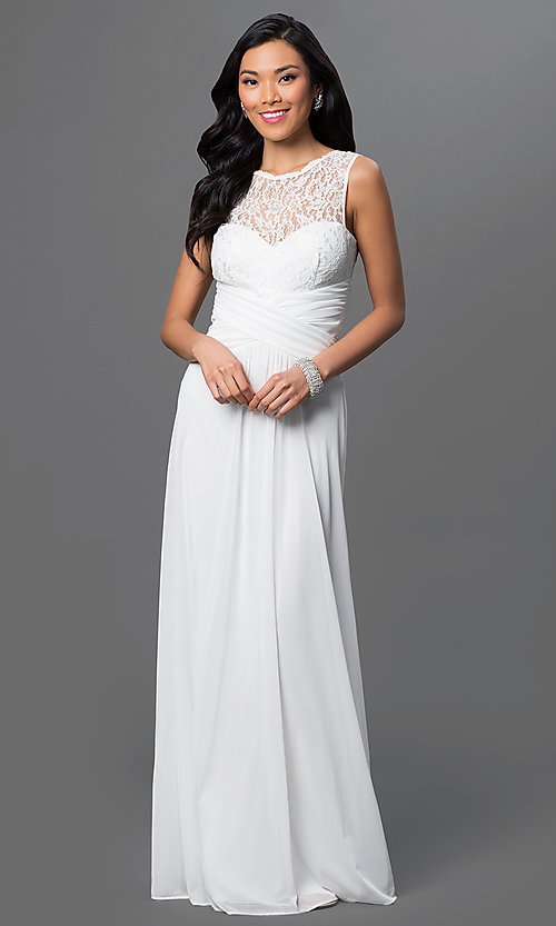 Cheap Long Formal Dress with Lace Bodice - PromGirl