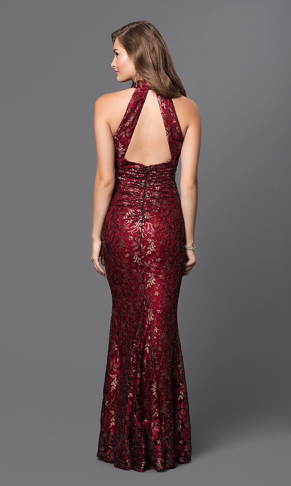 Long dress burgundy glitter
