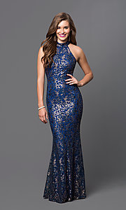 Sequin Lace Long High Neck Prom Dress