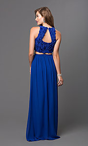 Image of long two-piece long dress with floral appliques Style: TW-4168 Back Image