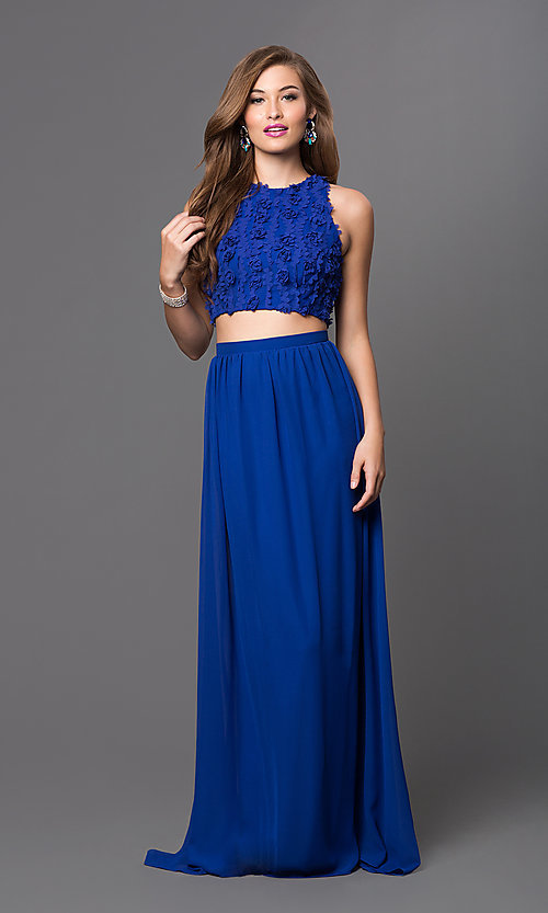 Image of long two-piece long dress with floral appliques Style: TW-4168 Front Image