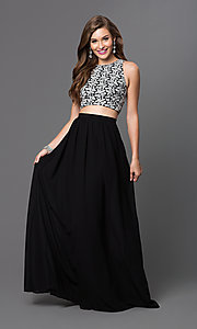 Two-Piece Long Open-Back Sleeveless Prom Dress