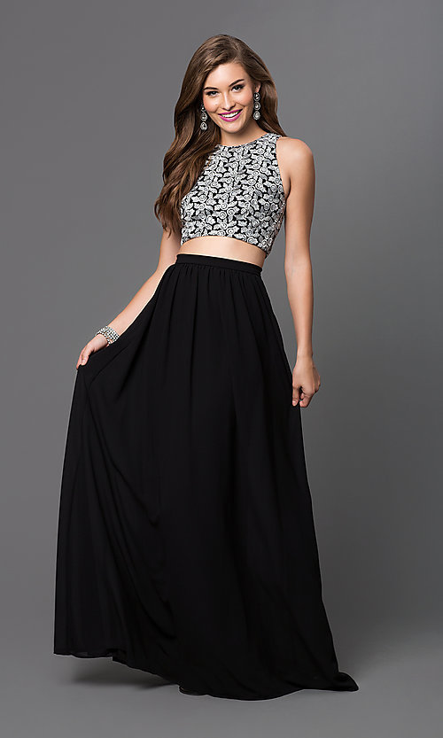 Image of long two-piece dress Style: TW-4211 Front Image