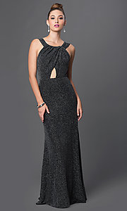 Long Formal Metallic Gown with Keyhole Cut Out
