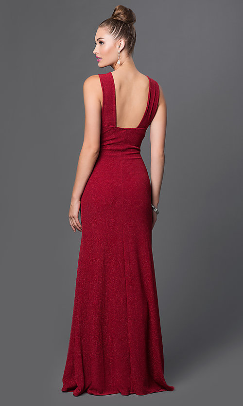 Image of long formal metallic gown with keyhole cut out. Style: TW-4202 Back Image