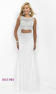 Image of long off-white sleeveless two-piece prom dress by Blush. Style: BL-11066 Front Image