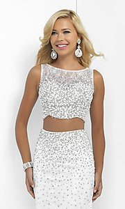 Image of long off-white sleeveless two-piece prom dress by Blush. Style: BL-11066 Detail Image 1
