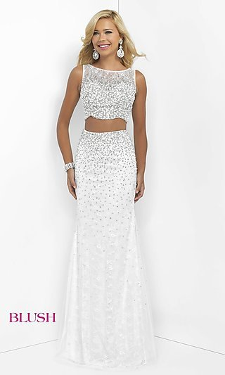 Long White Two-Piece Blush Prom Dress - PromGirl