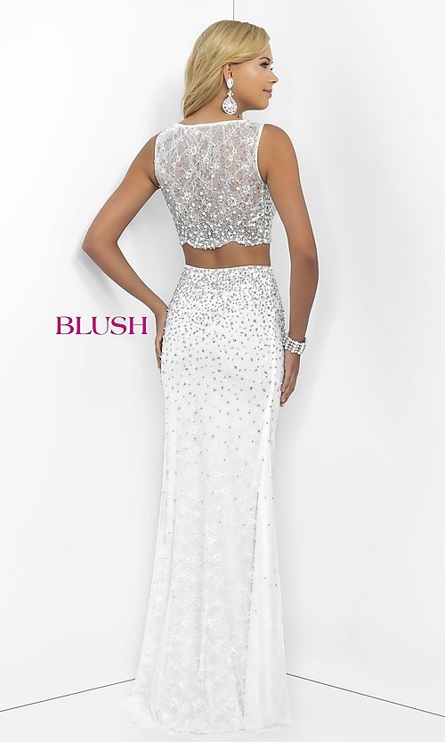 Image of long off-white sleeveless two-piece prom dress by Blush. Style: BL-11066 Back Image