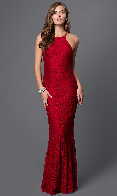 Image of long sleeveless open back burgundy red lace dress Style: CQ-4570DK Detail Image 1