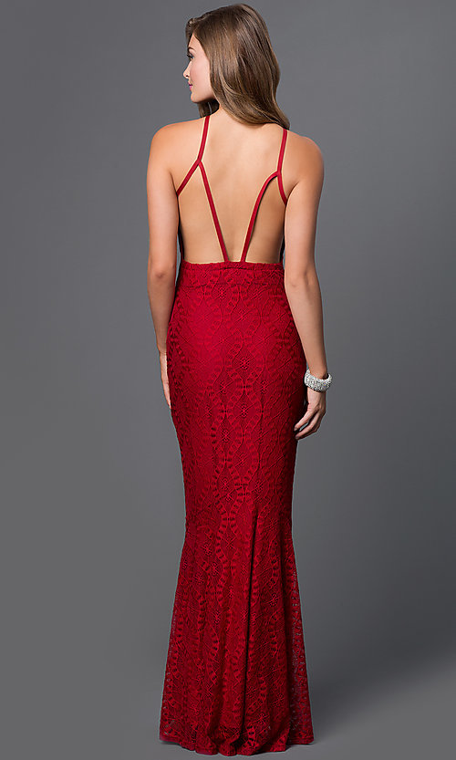Image of long sleeveless open back burgundy red lace dress Style: CQ-4570DK Back Image