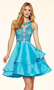 Short Lace Fit and Flare Open Back Mori Lee Dress