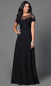 Image of black floor-length short-sleeve Mori Lee dress  Style: ML-124 Front Image