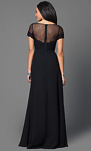 Image of black floor-length short-sleeve Mori Lee dress  Style: ML-124 Back Image
