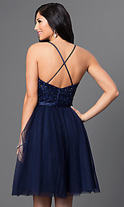 Image of short sleeveless embroidered sweetheart dress by Mori Lee. Style: ML-131 Back Image