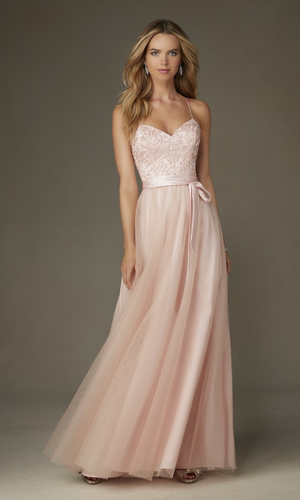 Champagne prom dress lace