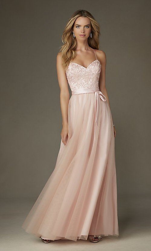 Image of embroidered long Mori Lee prom dress with bow Style: ML-132 Front Image
