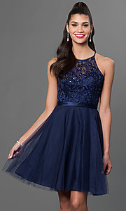 Image of sleeveless lace-bodice Mori Lee homecoming dress. Style: ML-135 Front Image