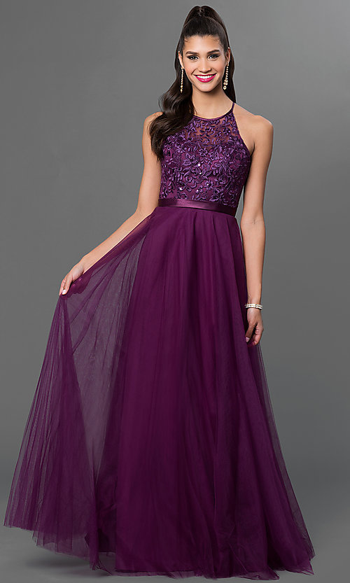 Image of lace-top tulle-skirt long Mori Lee dress Style: ML-136 Front Image