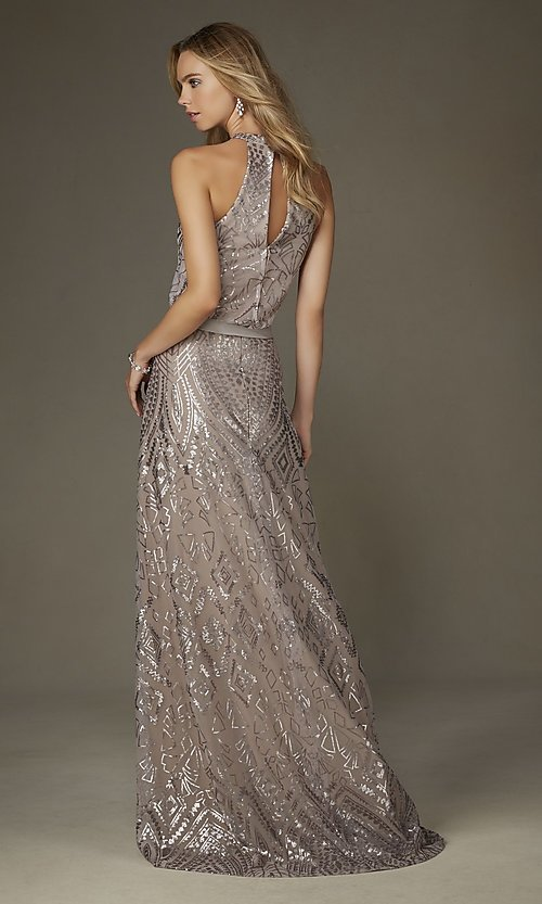 Image of Mori Lee floor-length back-keyhole formal dress. Style: ML-20475 Back Image