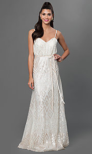 Sequin Embellished Floor Length Dress by Mori Lee