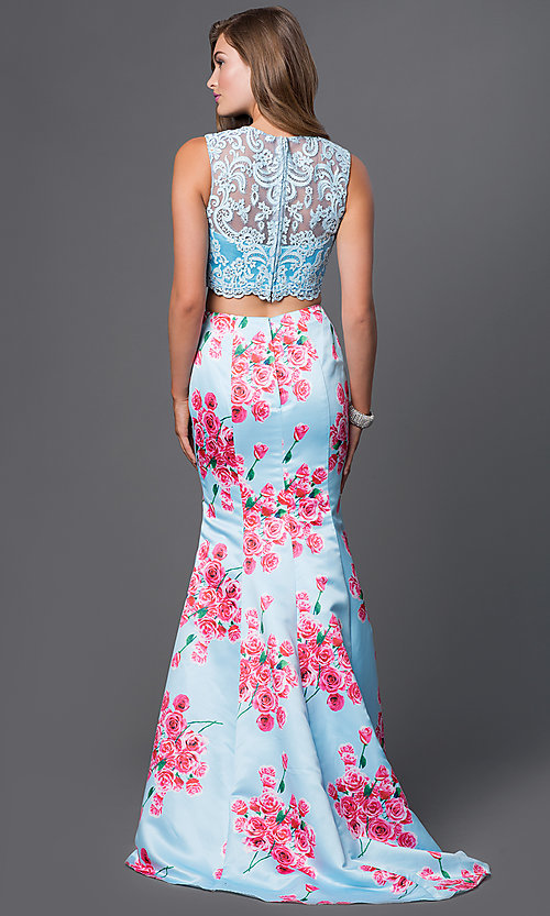 Image of floor length sleeveless lace top two piece print dress  Style: BL-PG011 Back Image