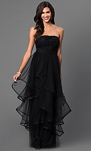 Strapless Floor-Length Lace-Top Tiered Dress
