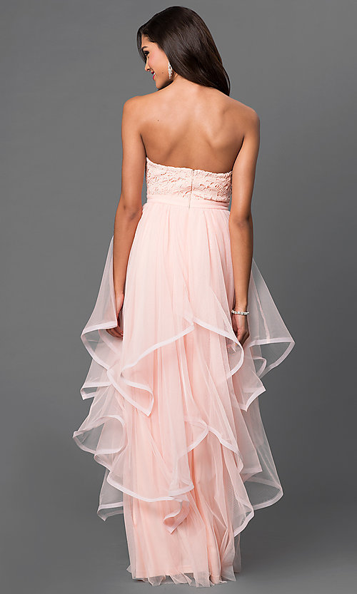 Image of strapless floor-length lace-top tiered dress Style: LP-23503 Back Image