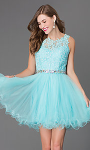 Image of semi-formal short lace-embellished homecoming dress. Style: DQ-9159-v Detail Image 1