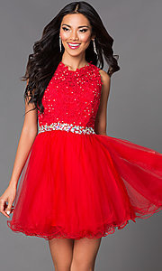 Image of semi-formal short lace-embellished homecoming dress. Style: DQ-9159-v Detail Image 2