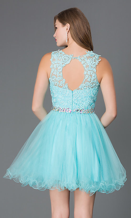 Image of semi-formal short lace-embellished homecoming dress. Style: DQ-9159-v Back Image