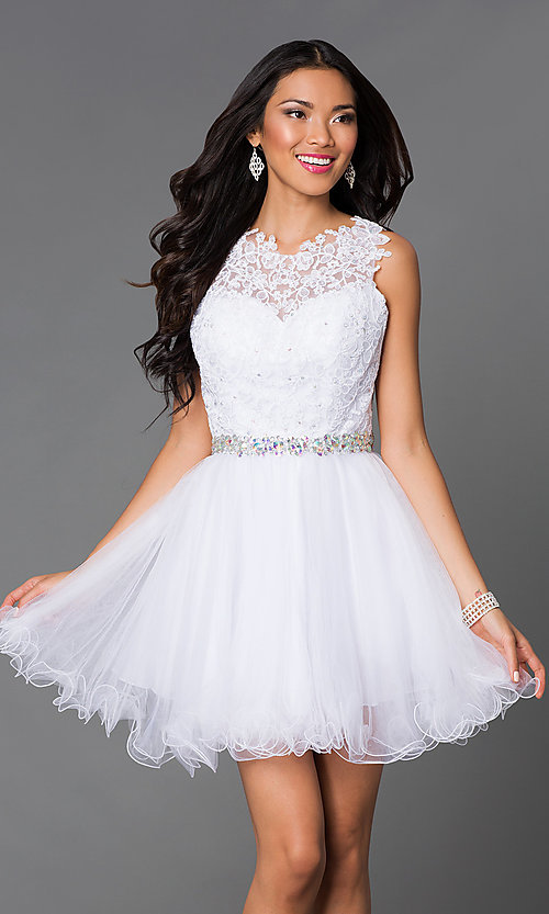 Image of semi-formal short lace-embellished homecoming dress. Style: DQ-9159-v Detail Image 3