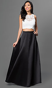 Two-Piece Lace Top Xscape Prom Dress