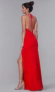 Image of floor-length open-back prom dress with back bow Style: LP-23711 Detail Image 2