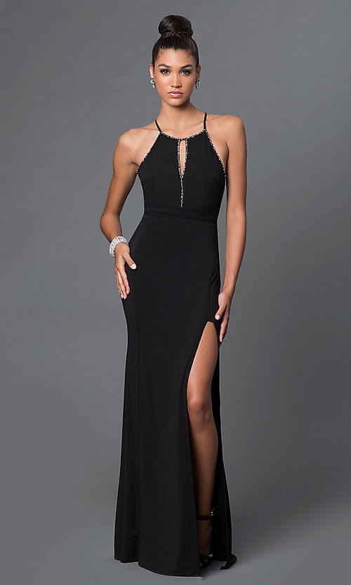 Image of floor-length open-back prom dress with back bow Style: LP-23711 Front Image