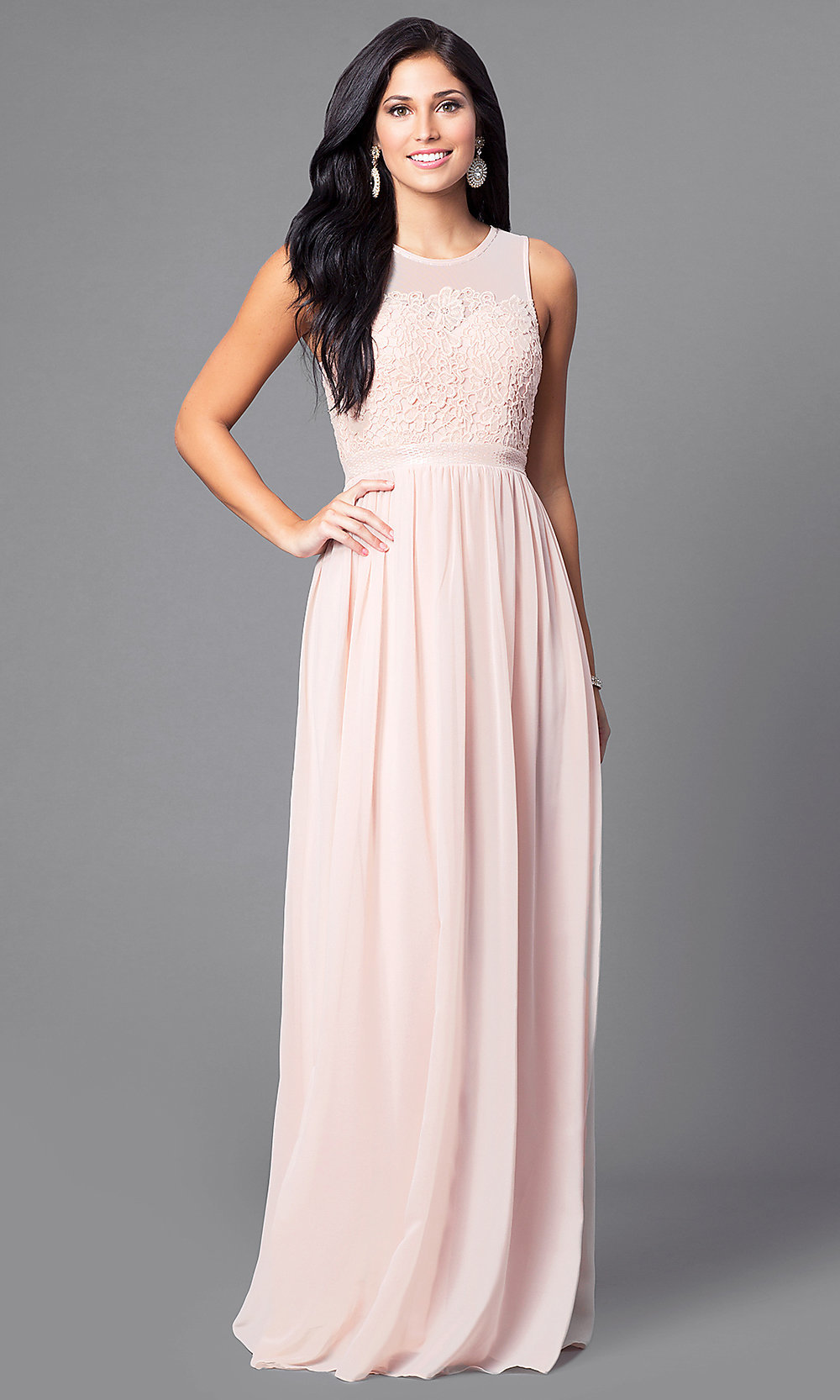 Illusion-Back Sleeveless Long Dress - PromGirl