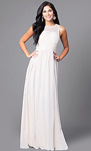 Illusion-Back Sleeveless Long Dress with Lace