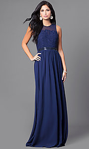 Image of illusion-back sleeveless long dress with lace. Style: LP-23397 Detail Image 3