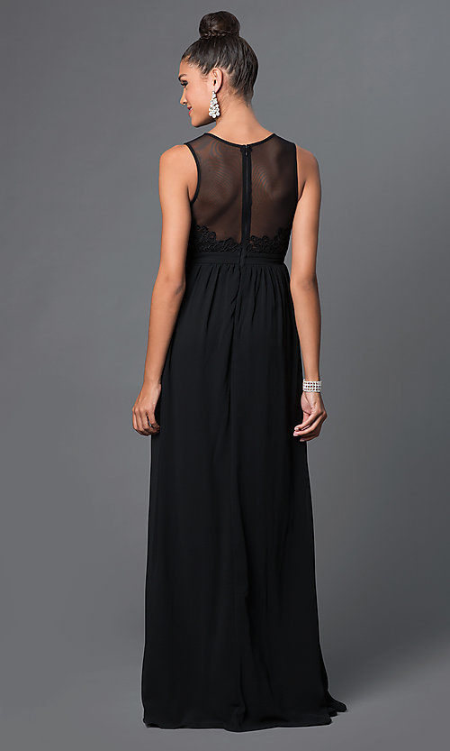 Image of illusion-back sleeveless long dress with lace. Style: LP-23397 Back Image