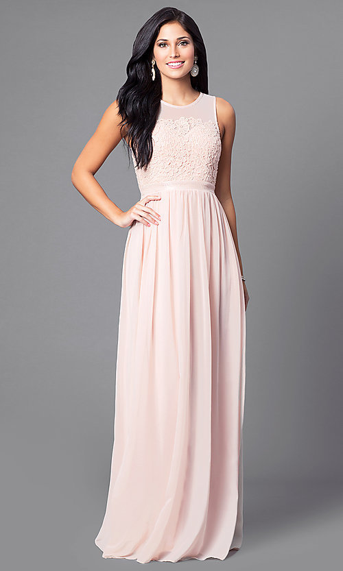 Image of illusion-back sleeveless long dress with lace. Style: LP-23397 Front Image