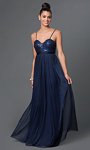 Spaghetti-Strap Long Sweetheart Prom Dress