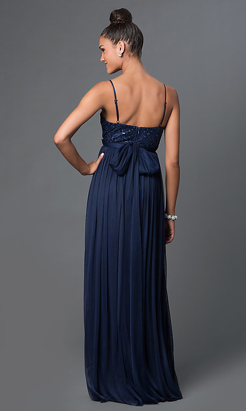 Image of spaghetti-strap long sweetheart prom dress Style: LP-23461 Back Image