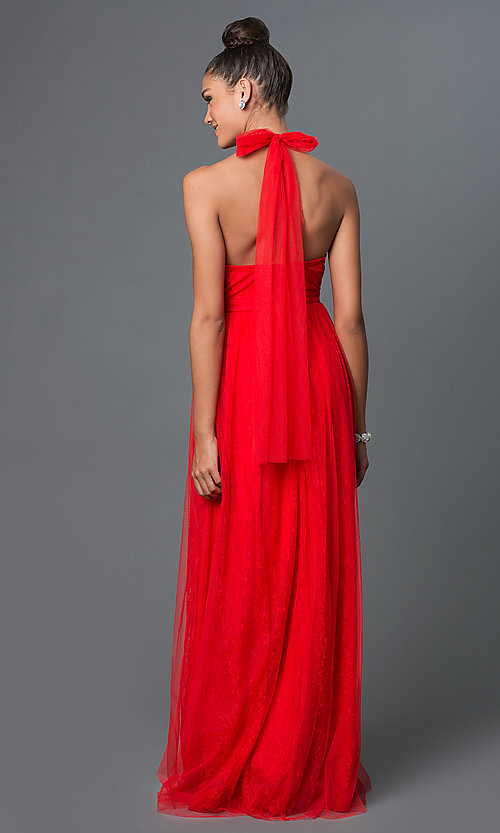 Image of long red lace front slit layered skirt back bow halter dress Style: LP-23624 Back Image