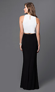 Image of long two piece high neck beaded top side slit black and white dress Style: JU-48142 Back Image