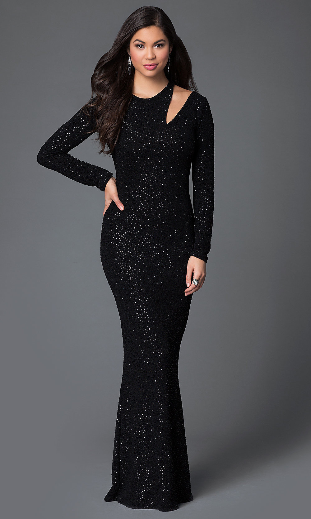 Long Glitter Long Sleeve Prom Dress-PromGirl